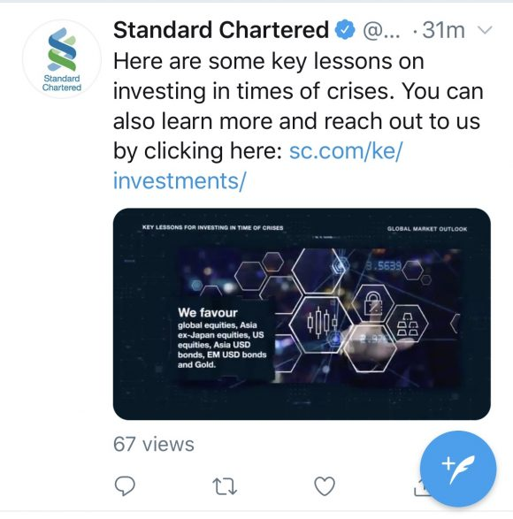 Standard chartered bank social post, investment advice