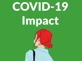 Lady in face mask with Covid 19 Impact header
