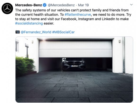 Mercedes social media post backing people to stay safe, like their cars