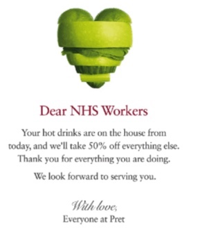 Pret A Manger advert to NHS workers